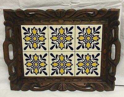 Mexico Mexican Folk Art Talavera Pottery Tile Serving Tray Carved Wood Table