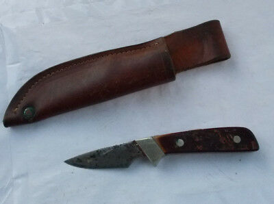 RARE Vintage Schrade Old Timer Fixed Blade Knife & Sheath Collectible LOOK NR