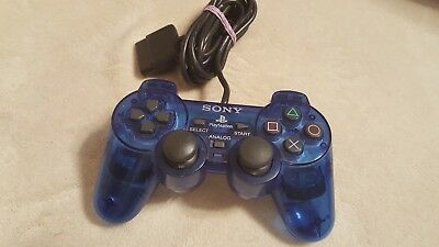 Official Sony PlayStation 2 PS2 DualShock 2 Clear Blue Controller Authentic OEM
