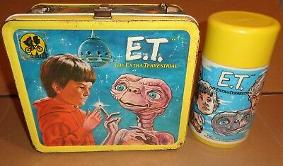 E.T. EXTRA TERRESTRIAL METAL LUNCH BOX W/ THERMOS ALADDIN 1982 free shipping!!!!
