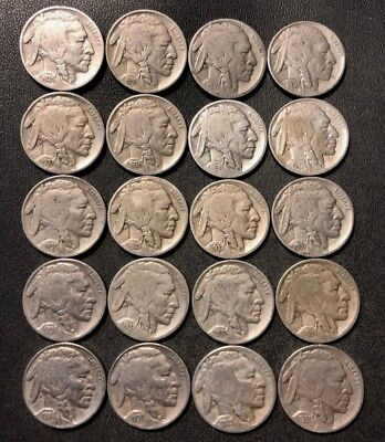 VINTAGE United States Coin Lot - BUFFALO NICKELS - 20 DATED Coins - Lot #D12
