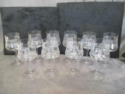 Antique Cut Glass Wine or Water 10 Goblets - Garland Art Deco Pattern ksb2