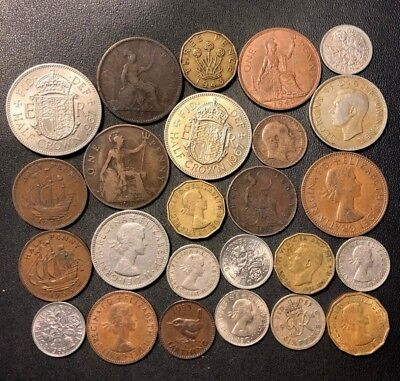 Vintage Great Britain Coin Lot - 1862-1967 - 25 Collectible Coins - Lot #D12