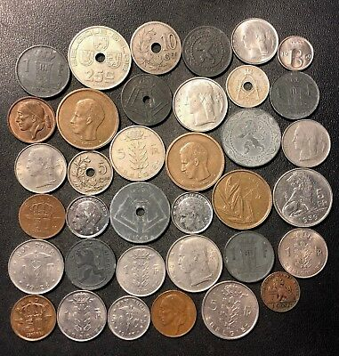 Vintage Belgium Coin Lot - 1894-PREEURO - 36 Collectible Coins - Lot #D12