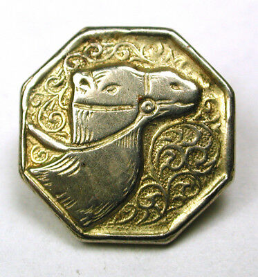 BB Vintage Metal Button w Camel Head on Octagon Design - 9/16""