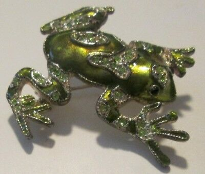 Green FROG Toad with rhinestones brooch pin 1.5