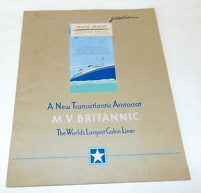 c1930 M.V. BRITANNIC Booklet CANADIAN PACIFIC Cruise Ship WHITE STAR LINE