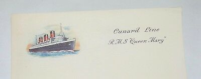 LARGE LOT! Vintage 1950'S R.MS. QUEEN MARY Stationery CUNARD LINE Cruise Ship