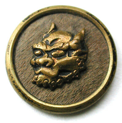 Antique Woodback Brass Button Demon Fase Design -9/16""