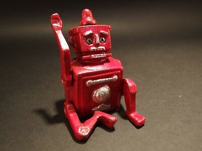 Antique Vintage Style Mini Cast Iron Red Robert the Robot Toy Paperweight