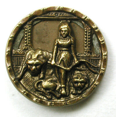 BB Antique Brass Button Lady Lion Tamer Scene Design - 5/8""