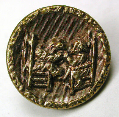 BB Antique Brass Button 2 Children in Chairs Pulling Hair Image  - 11/16""