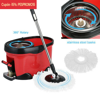 Stainless Steel 360°Spin Mop Bucket Set Foot Pedal Rotating Magic Floor Mop H5O6