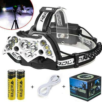 200000LM 9LED Headlamp USB Rechargeable 18650 Headlight Torch Lamp + Battery US