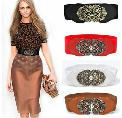 2019 Women Adjustable Flower Elastic Stretch Buckle Wide Waistband Waist Belt