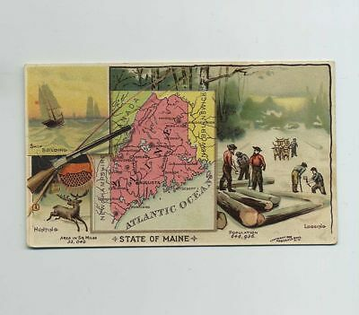 1889 Arbuckle Bros Coffee Advertising Trade Card #52 ME Maine Map Hunting wz1320