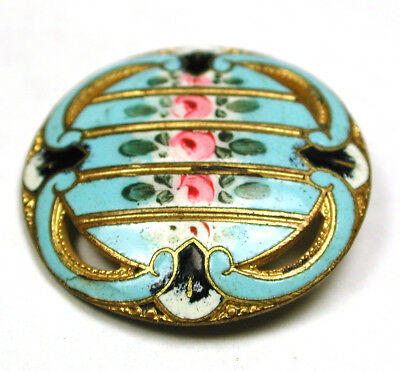 BB Antique French Enamel Button Pierced Turquoise w/ Hand Painted Roses - 1""