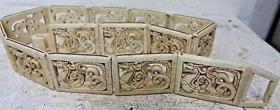 Interesting Chinese Carved Stone Belt With Dragon Decoration - Jade Interest