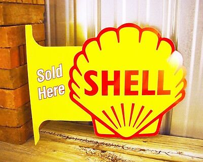 Shell Gasoline Gas Sold Here Large Flange Metal Tin Sign Vintage Garage Station