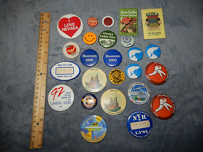 Vintage Lot Of 25 Pinback Buttons