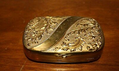 Rare Antique Ornate Repousse Brass Box – Container W/spring Hinged Cover