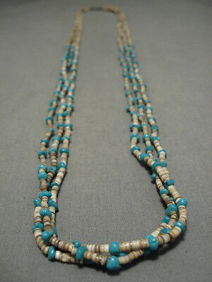 Stunning!! Vintage Navajo Turquoise Heishi Native American Necklace Old