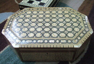 "EGYPTIAN HUGE 15"" JEWELRY BOX EGYPT  MOTHER OF PEARL INLAYS HANDMADE over 5 LBS."