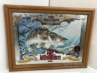 Old Milwaukee Rare Beer Wildlife Mirror Sign WALLEYE Fishing with Lure Fish
