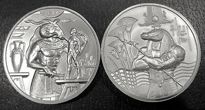 Lot Of 2 - 2 Oz Ultra High Relief Silver Rounds Egyptian Gods Series Khnum/sobek