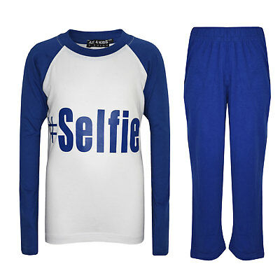 "Kids Boys PJ's "" #SELFIE "" Printed Stylish Royal Pyjamas Loungewears 5-13 Years"