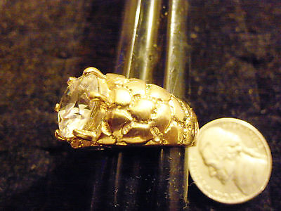bling gold plated ICED OUT cubic CZ SOLITAIRE FASHION ring hip hop JEWELRY sz 14