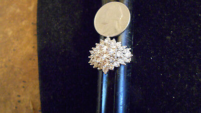 bling gold plated ICED OUT CZ fashion COCKTAIL cluster ring hip hop JEWELRY sz 6
