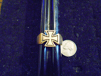 bling gold plated WAR MYTH BLACK maltese CROSS symbol ring hip hop jewelry sz 13