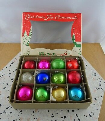 Box of 12 Vintage Glass Christmas Baubles Ornaments Decorations Made in Japan