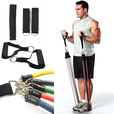 11pcs/Set Resistance Bands Workout Exercise Yoga Fitness Pull Tubes Physio HOT