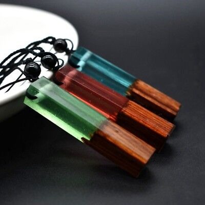 Fashion Women Men Necklace Handmade Vintage Resin Wood Long Rope Necklaces