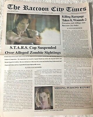 Resident Evil Apocalypse 2004 Promo Newspaper Raccoon City Times
