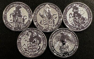 Lot Of 5 - Great Britain Queen'S Beast 2 Oz Coins .9999 Silver Coins Bu