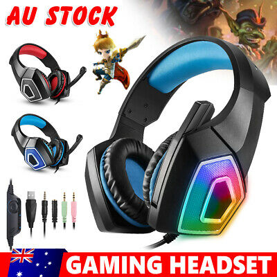 Gaming Headset MIC LED Headphones Surround for PC Mac PS4 Xbox One Laptop 3.5mm