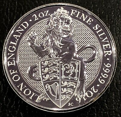 2016 Great Britain 2 Oz Silver Queen's Beasts The Lion .9999 Fine Bu 1St Release
