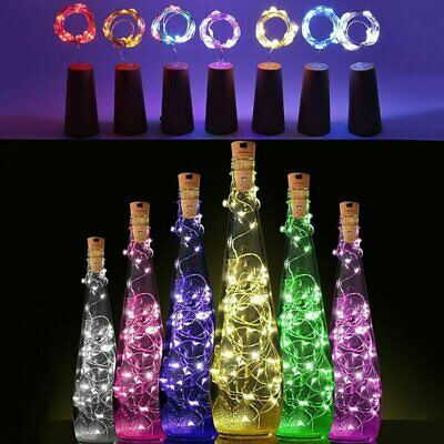 12x 2M 20LED Copper Wire Wine Bottle Cork Fairy String Lights Xmas Wedding Party