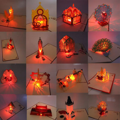 3D Music Light Pop Up Greeting Cards Birthday Handmade Postcard party Gift Party