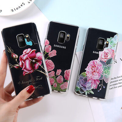 For Samsung Galaxy S8 S9 Note 9 Slim Soft Silicone Clear Painted TPU Case Cover