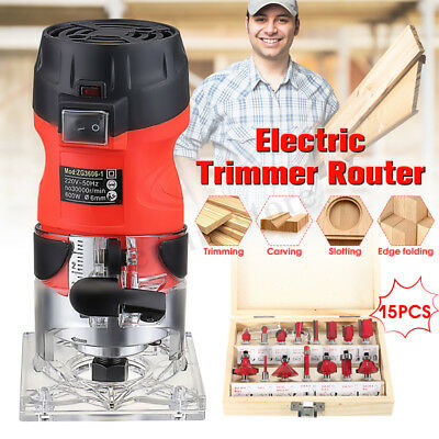 620W Electric Hand Trimmer Router + 15Pcs Wood Laminate Palm Router Joiners Tool