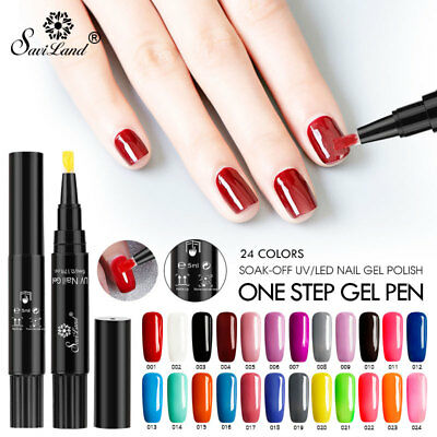 Saviland 60 Colors ONE STEP Coselia Painting Varnish Pen 3 In 1 Gel Nail Polish