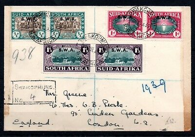 SOUTH WEST AFRICA , 1939 , better overprint set in PAIRS on reg cover , LOOK !