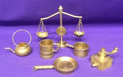 Vintage Solid Brass Miniature Scales Pots Pan Coffee Grinder For Dolls House