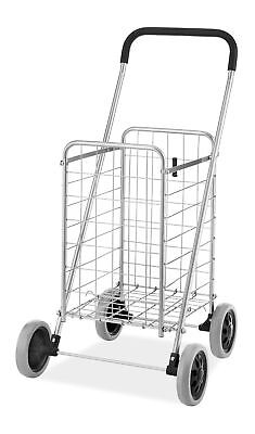 Folding Shopping Cart Rolling Utility with Wheels Laundry Grocery Travel