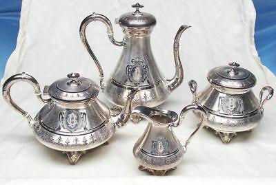 1864 DEBAIN et FLAMANT French 950 Sterling Silver Guilloche Tea Coffee Set