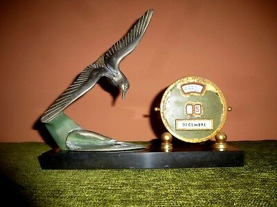French Art Deco  Spelter  Seagull On Marble Base Calender